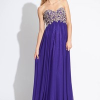 Sweetheart Empire Chiffon Purple Prom Dress with Beading Style RAJN239,2014 Prom Dresses