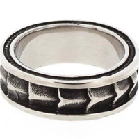 Edforce Stainless Steel Gothic Men's Ring with Dragon Scale Design