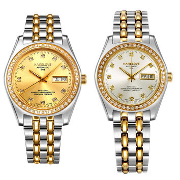 Sapphire mirror automatic mechanical couple table between the gold stainless steel men's watch business calendar-Dial Gold