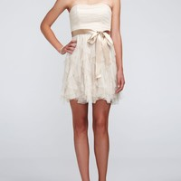 Strapless Glitter Mesh Dress with Ruffled Skirt - David's Bridal