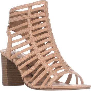 AR35 Sanchie Block-Heel Sandals, Light Sand, 11 US