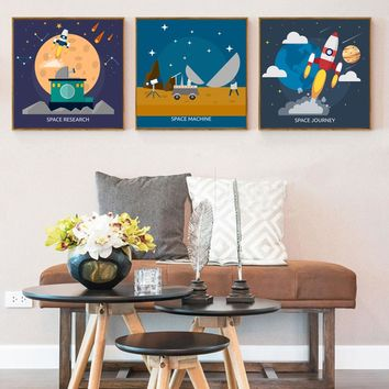 Modern Space Universe Canvas Painting Science Poster and Prints Nursery Wall Art Pictures for Kids Boys Room Home Decor No Frame