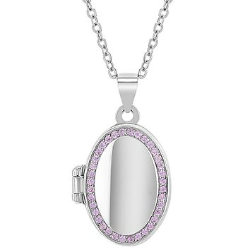 In Season Jewelry 925 Sterling Silver Cubic Zirconia Oval Photo Locket for Girls Necklace 16""
