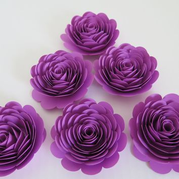 "Orchid Purple Roses, 3"" Paper Flowers, Set of 6 Pretty Wedding Flowers, Bridal Shower Decor, Princess Theme Tea Party Decorations, Birthday"