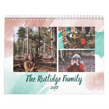 Watercolor Brushstrokes Family Photo Collage Calendar