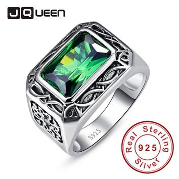Emerald Cut Carving Flower Unisex Couple Rings Real Silver Vintage Rings Sterling Silver 925 for Women & Men Size 6-14