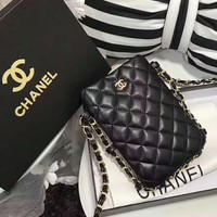CHANEL Fashion Women Shopping Leather Metal Chain Buckle Crossbody Shoulder Bag Satchel Black I-AGG-CZDL