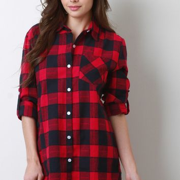 Lumberjack Button Cuff Sleeves Flannel Top