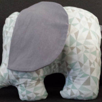 New Handmade Elephant stuffed child, toddler toy, triangle, shapes, grey, gray, gray elephant, toy, stuffed elephant, grey elephant