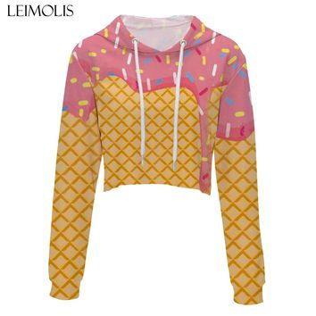 LEIMOLIS crop top hoodie women 3d print pink Ice cream Unicorn flower casual harajuku kawaii Spring Autumn Thin tops sweatshirt
