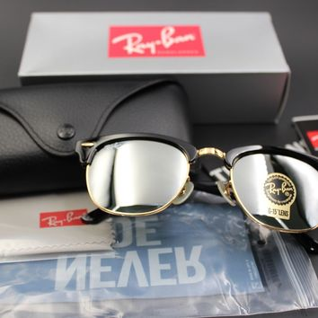 Ray-Ban Clubmaster Sunglasses RB3016 W0365 G15 Mirror Lens 51mm Black Gold Frame
