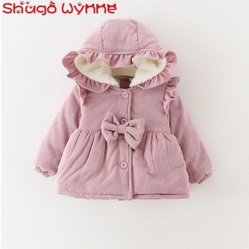 Winter Baby Girls Long Sleeve Hooded Corduroy Princess Bow Thick Fleece Jacket Kids Warm Outerwear Coat casaco infantil menina