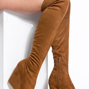 Brown Faux Suede Thigh High Wedge Boots @ Cicihot Boots Catalog:women's winter boots,leather thigh high boots,black platform knee high boots,over the knee boots,Go Go boots,cowgirl boots,gladiator boots,womens dress boots,skirt boots.