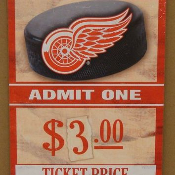 "DETROIT RED WINGS GAME TICKET ADMIT ONE GO RED WINGS WOOD SIGN 6""X12'' WINCRAFT"