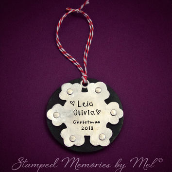 Snowflake - Hand Stamped Personalized Leather and Aluminum Ornament - Hand Dyed -  Handmade Children's Keepsake Decoration - Kid, Baby Name