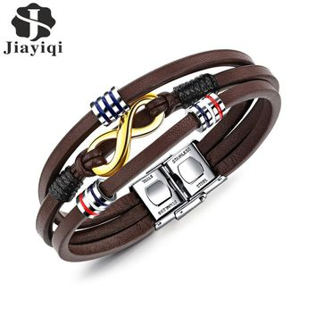 Jiayiqi New Infinity Bracelet Stainless Steel Brown Color Leather Bracelet for Men Jewelry Braid Chain Beads Accessories 21cm