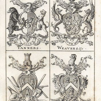 "Guild Merchants of Preston, Lancashire - 1822  - ""TANNERS, WEAVERS & MASONS"" - Heraldry Engraving"
