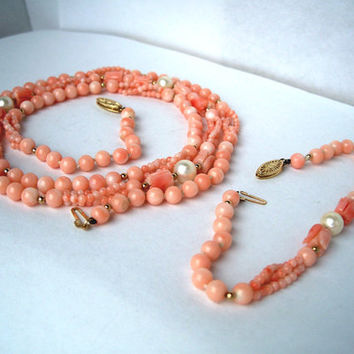 Vintage Carved Coral Bead Necklace Bracelet Set,Coral Beads,Coral Pearl Necklace,Carved Coral,14k Coral Necklace,14k Gold Coral Bracelet