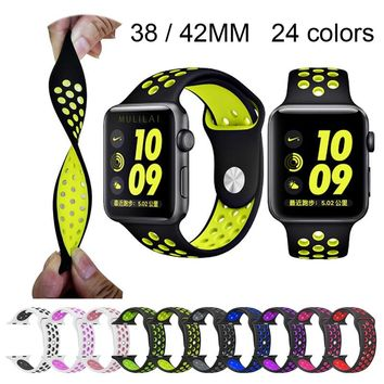 Silicone strap for Apple Watch Band 42mm Bracelet Watchband for Apple Watch Strap Rubber iwatch band 4/3/2 38MM Sport Wristbands