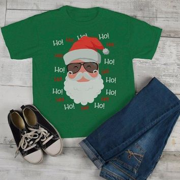 Kids Hipster Santa Shirt Hipster Christmas TShirt Ho Ho Ho Hipster Mustache Beard Santa Christmas Outfit Toddler Boy's Girl's