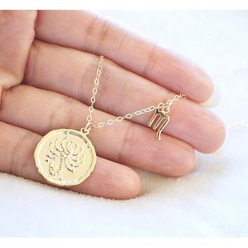 Vintage Coin Zodiac Charm Necklace