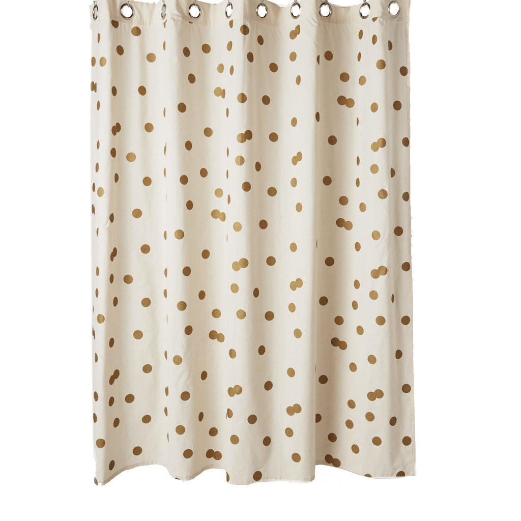 Polka Dot Gold & White Shower Curtain from Ankit | Bedroom/beauty