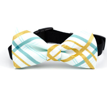 Dog Bow Tie in Metallic Mint Plaid