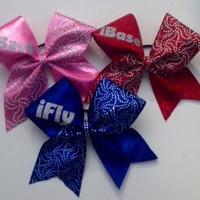 I fly,I back, I spot, I base, I tumble, etc. Fabric covered Cheer bow with silver rhine studs and crystals