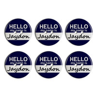 Jaydon Hello My Name Is Plastic Resin Button Set of 6