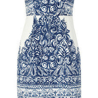 J.Crew | Ella strapless printed cotton-blend piqué dress | NET-A-PORTER.COM