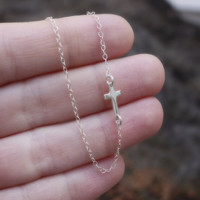 Small Sideways Cross Necklace - Sterling Silver Sideways Cross . Tiny Sideways Cross . Silver Cross Necklace . Horizontal Cross . Celebrity