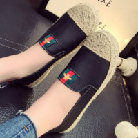 GUCCI New fashion flat women red and green stripe bee shoes casual shoes straw shoes Black
