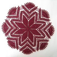 Crochet Lace Doily Burgundy Tablecloth Red Poinsettia Placemat Home Decor Table Centerpiece Unique Gift