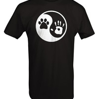 Paw Hand Print Yin Yang Dog Animal Rescue Adopted Pet Lover T Shirt Men 2017 Summer Round Neck Men'S T-Shirt Top Tee