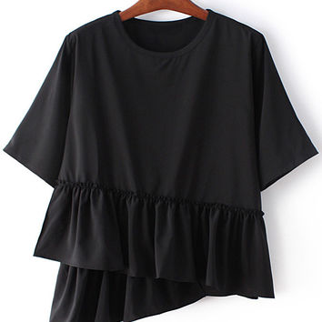 Black Round Neck Ruffle Hem Short Sleeve Blouse