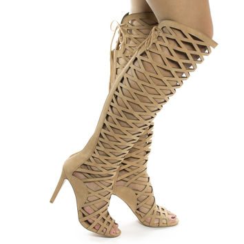 Witness Dk Sand Nubuck by Speed Limit 98, Dark Sand Nubuck High Heel Knee High Laser Chop out Cage Boot / Sandal w Laced Back
