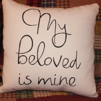 "Canvas Pillow Cover Pair, I am My Beloved's My Beloved is Mine, 14"" insert included"