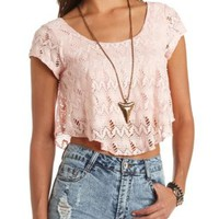 Lace Flounce Cap Sleeve Crop Top by Charlotte Russe - Pale Pink