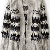 AEO Women's Patterned Open Cardigan (Grey)