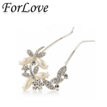 2014 new hair combs hairpins pearl rhinestone crystal vintage clips pins stick for bridal bride wedding accessories jewelry F037