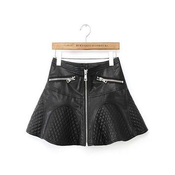 2016 Spring New Femininas Fashion All-match Skirt High Waist Solid PU Leather Skirts Women Slim Casual Short PU Skirt in Stock