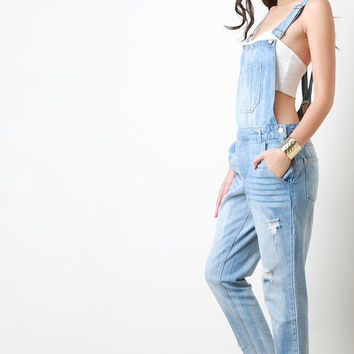 Faded Denim Distressed Overalls