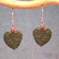 """Red coral on green turquoise hearts, 1"""" Earring Gold Or Silver"""