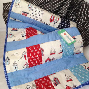 Baby boy blanket~ sailor~ nautical~ anchor~ maritime~ baby quilt~ crib blanket~ blue~ baby blanket~ toddler quilt~ cot bed quilt~ crib quilt