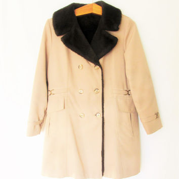 Vintage 1960s Shearling Khaki Double Breasted Pea Coat
