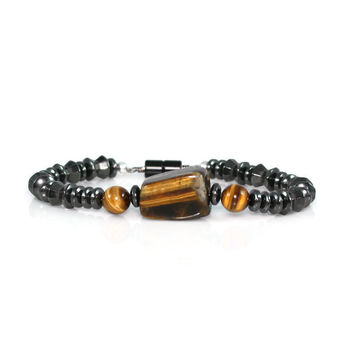 Men's Tiger Eye and Magnetic Hematite Bracelet
