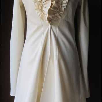 Ivory - Dress Coat Jacket with Ruffles - MADE TO ORDER