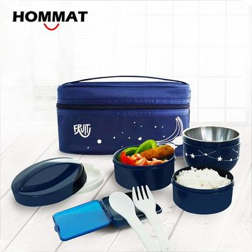 HOMMAT Japanese Bento Lunch Boxs Food Container PP Bowls Soup Bowl with Fork Insulated Carry Lunch Tote Bag for Student