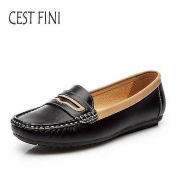DCK7YE CESTFINI Flat Shoes Women handmade Loafers shoes slip on shoes for women leather flats