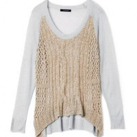 Color Block Knit Tops with Crochet Details